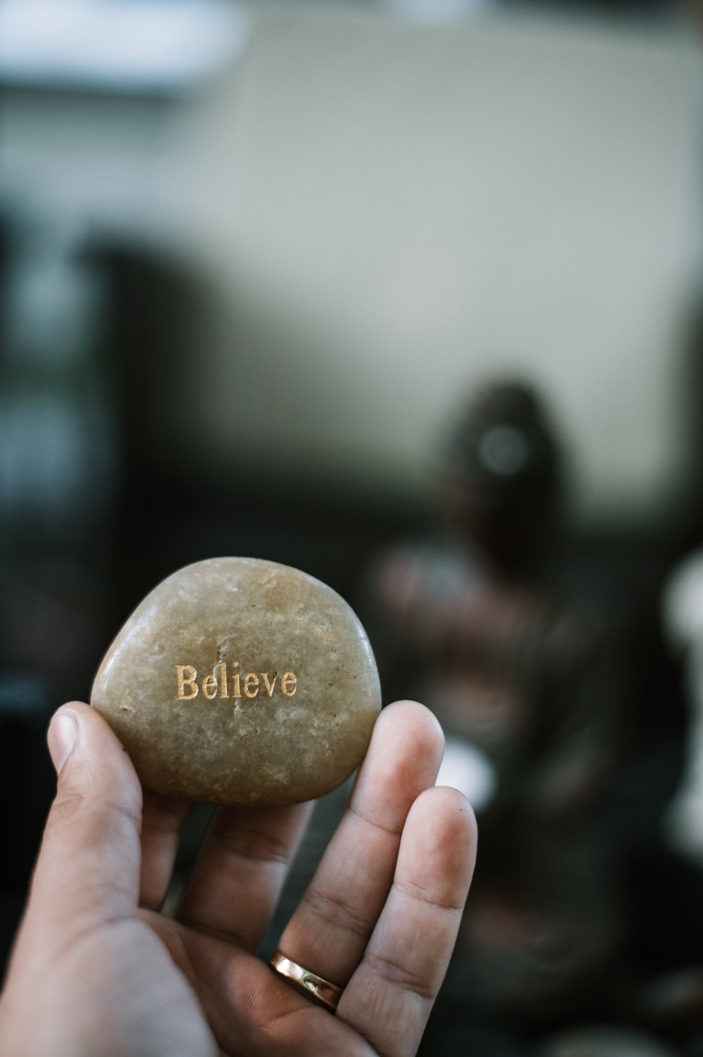 person holding brown stone with believe print