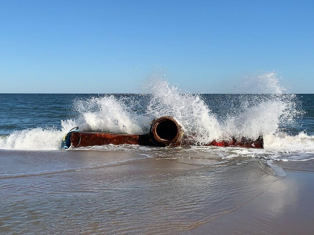 Dredging pipe in the Atlantic Ocean at Rehoboth Beach, Delaware.