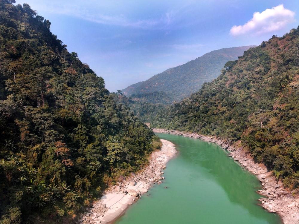 green mountain and lake scenery