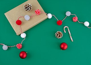 red and white baubles