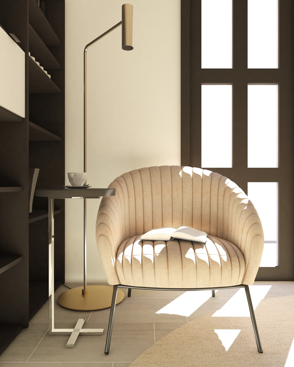 beige padded chair