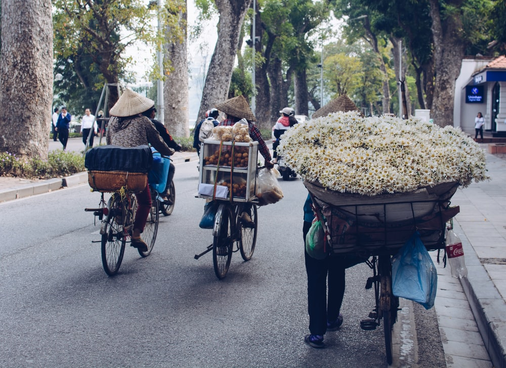 person holding bicycle carrying bunch of white flowers during daytime