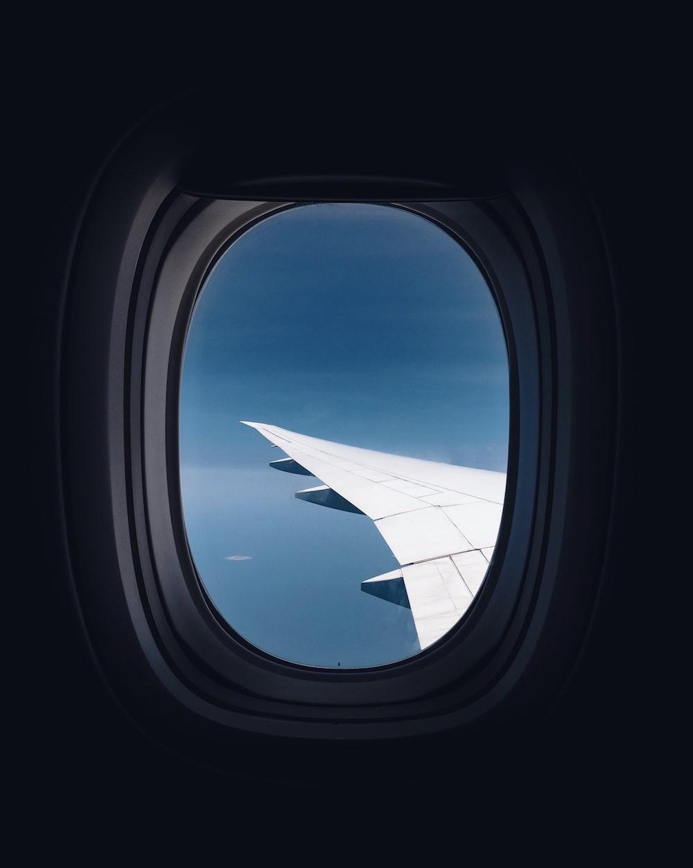 airplane window view of wings