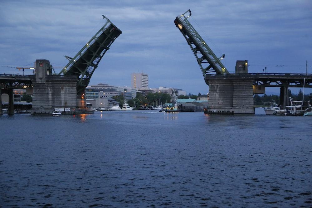 lifted drawbridge during day