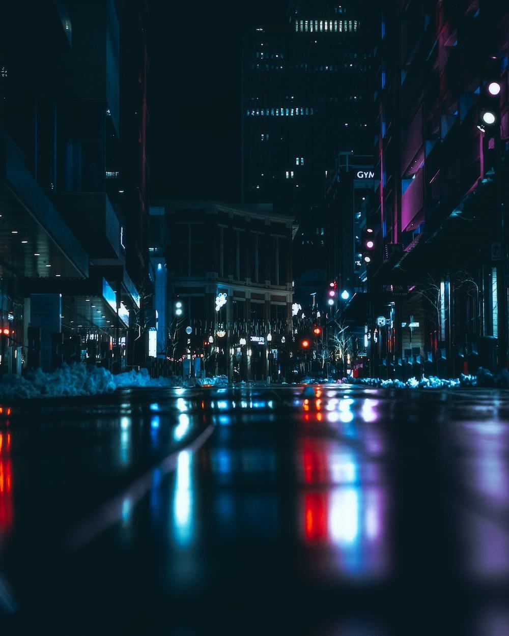 photograph of city at night