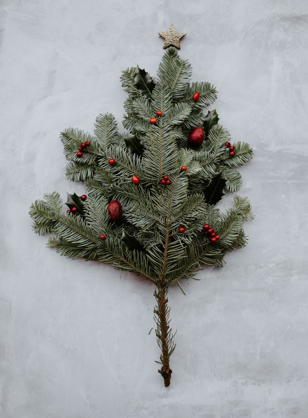 green pine leaves on gray surface