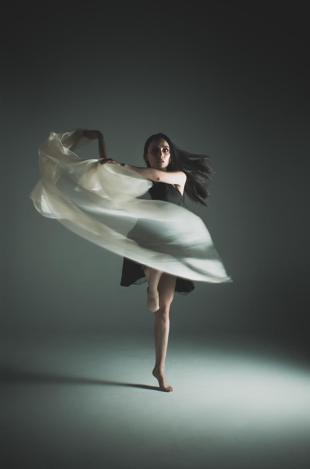 woman wearing black dress