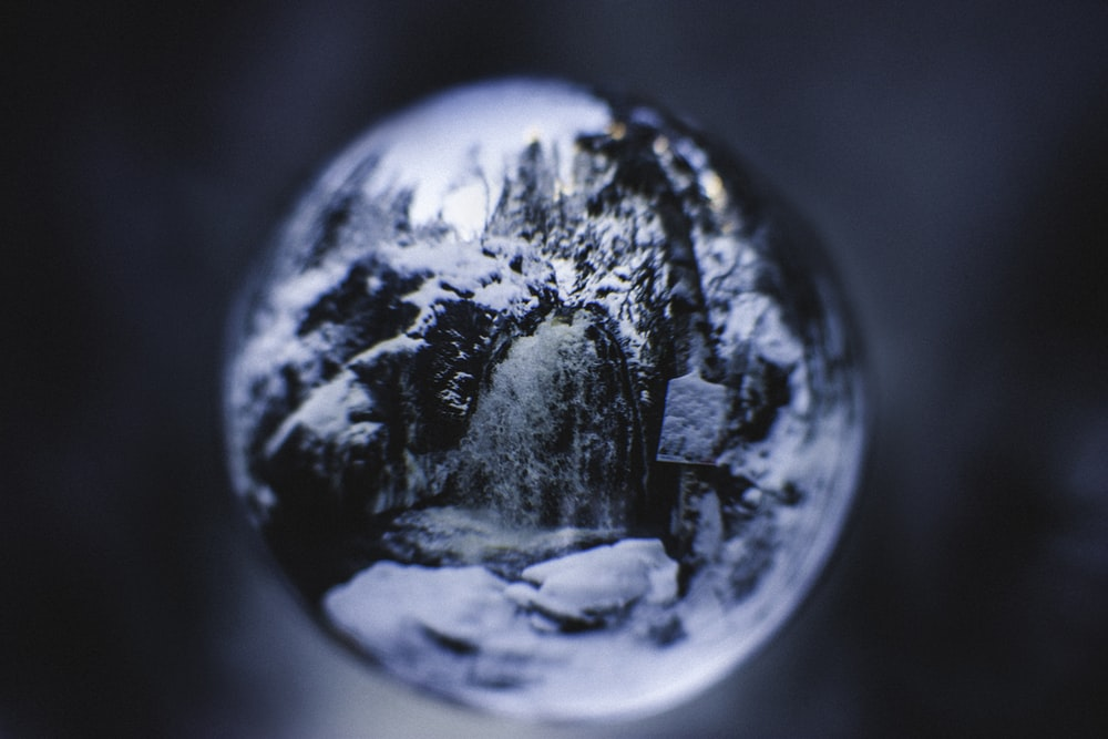 rock formation filled by snow