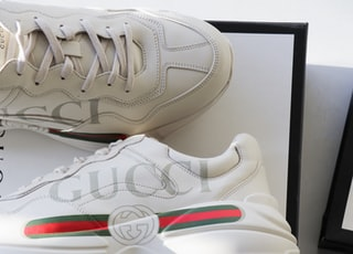 pair of white-red-green Gucci sneakers with box