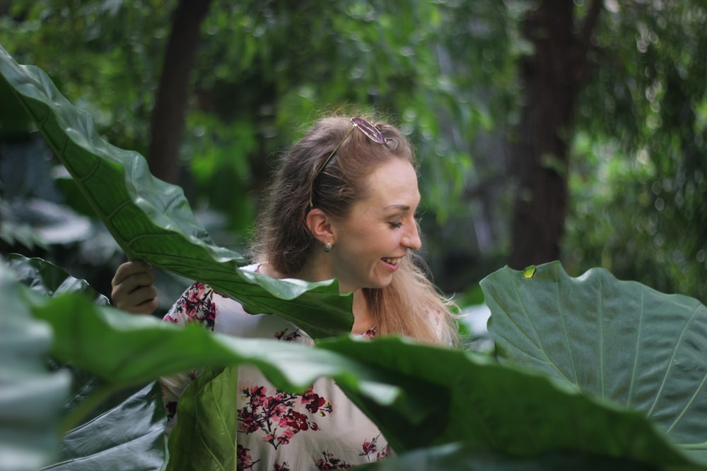 woman in taro plant field