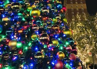low angle photo of Christmas tree