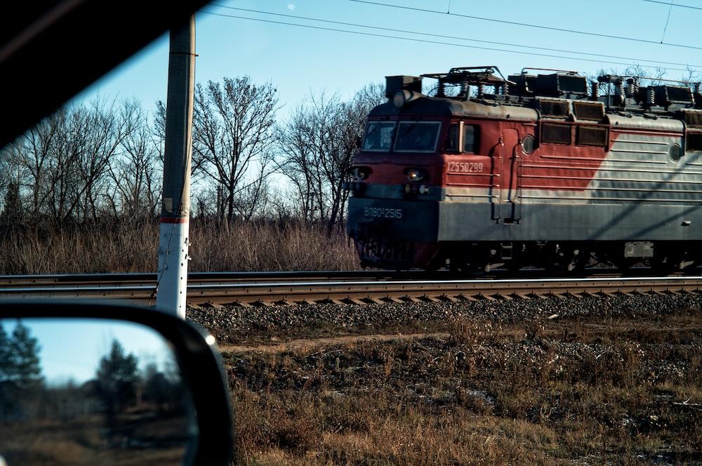 running train under blue skies