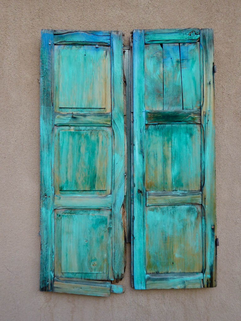 teal wooden window door