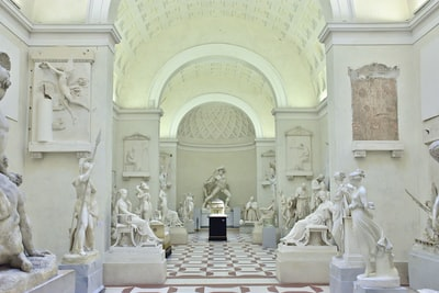 building interior with statue classicism zoom background