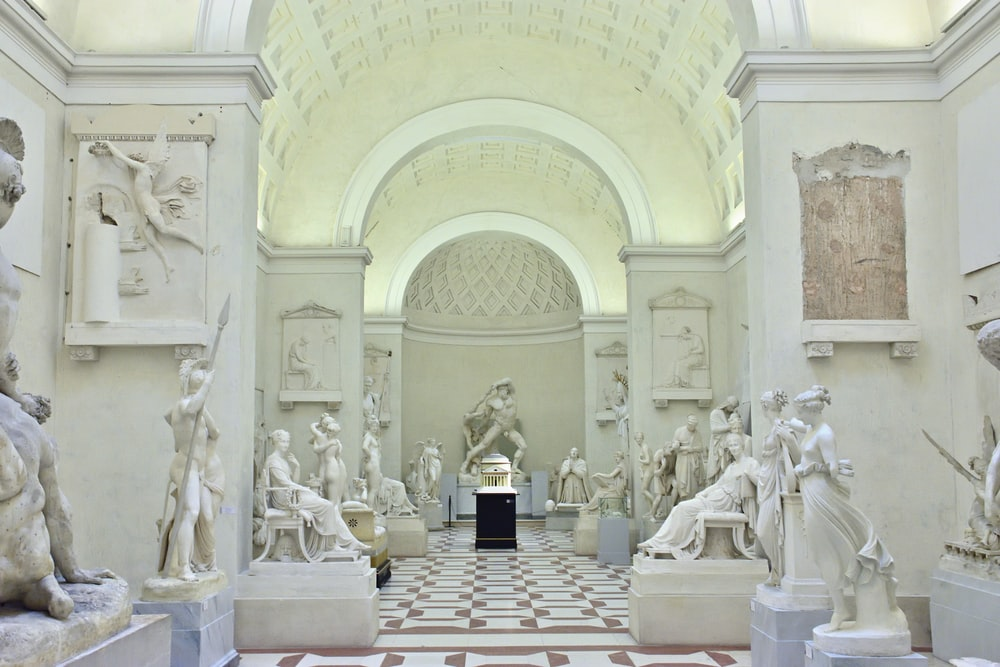 building interior with statue