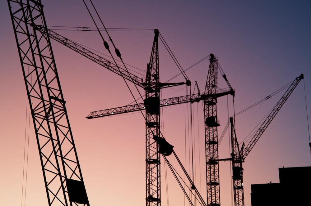 several tower cranes