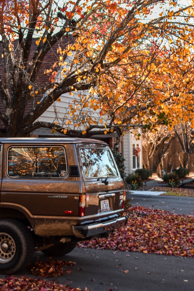 Land Cruiser with NC plates parked in front of an autumn scene.