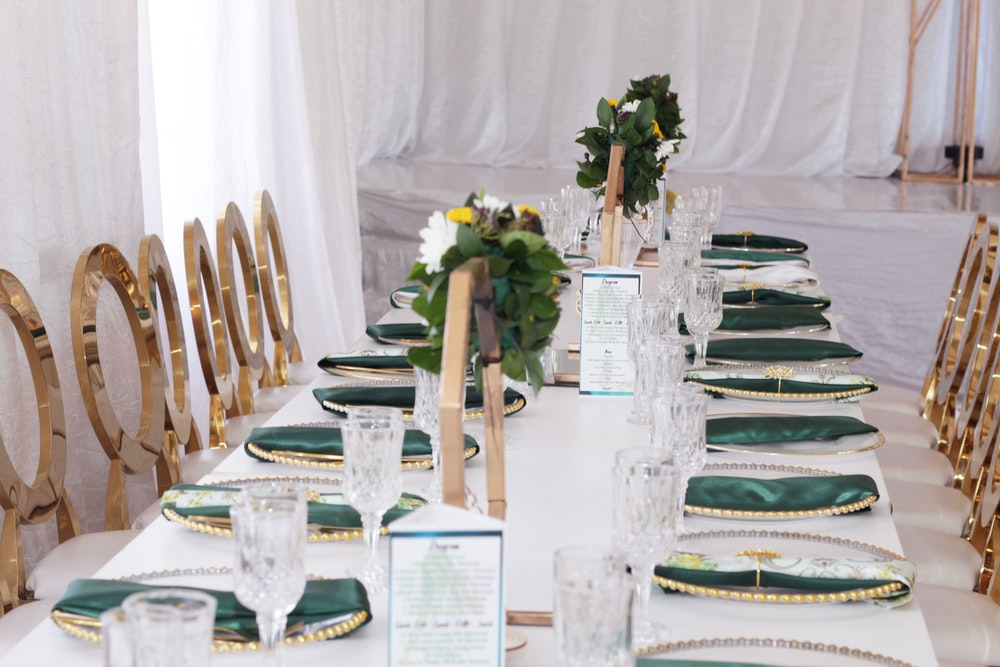 green table napkins on plate on table