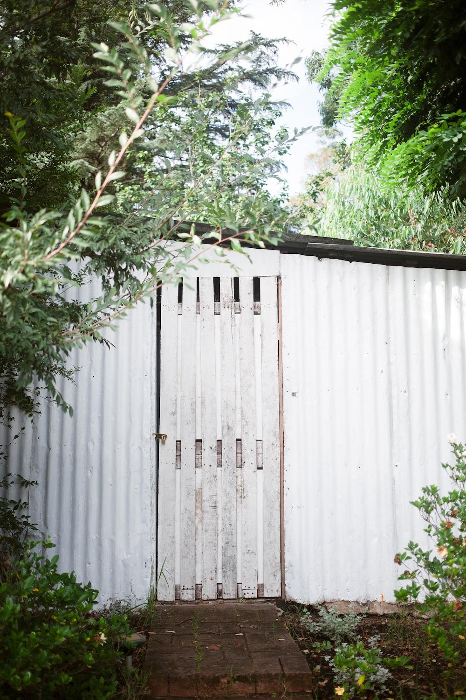 white woode door