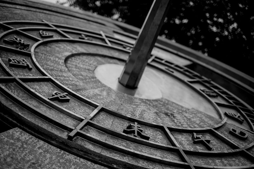 A Chinese sundial in black and white