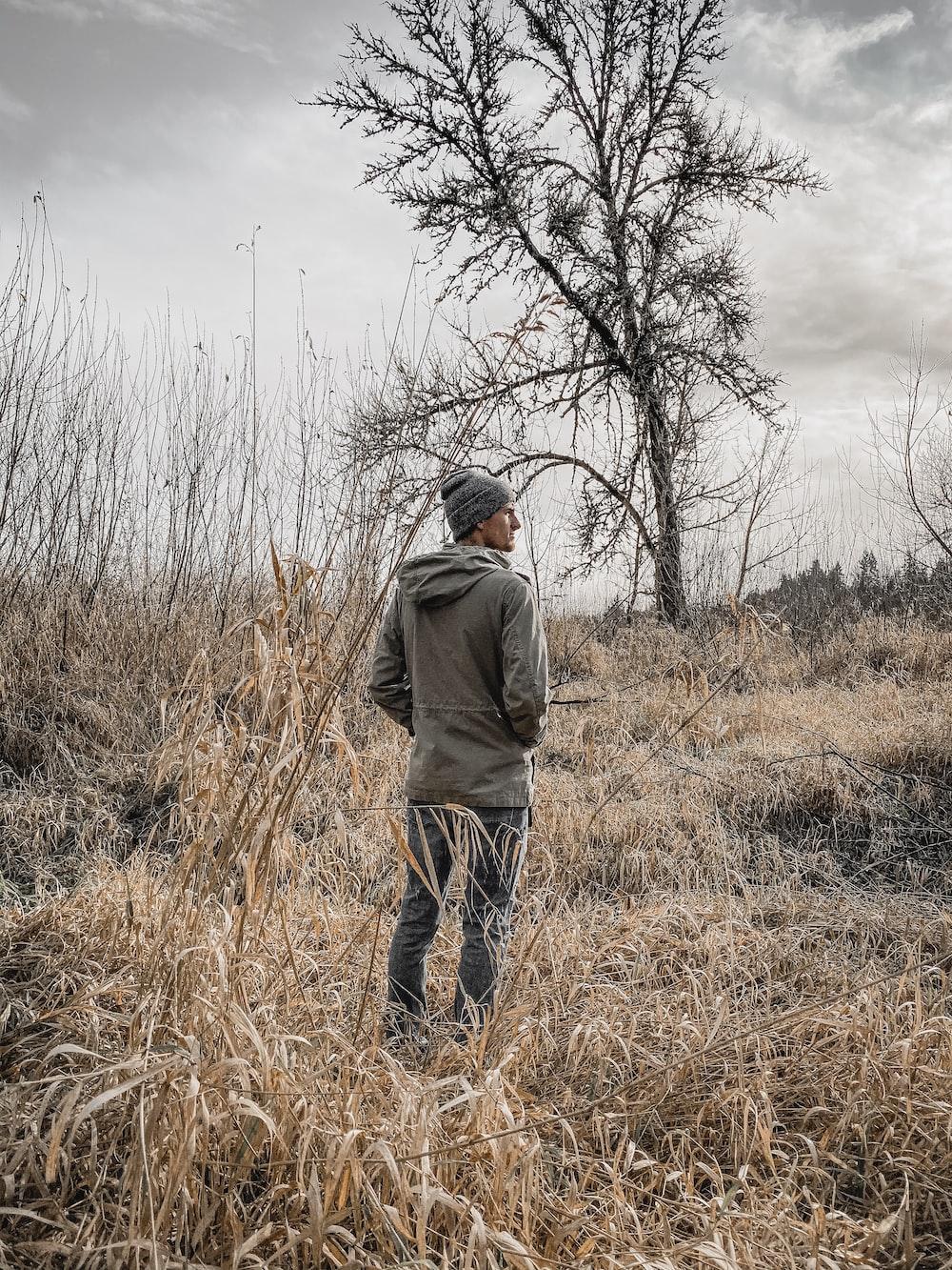 man standing on bush near tree during daytime