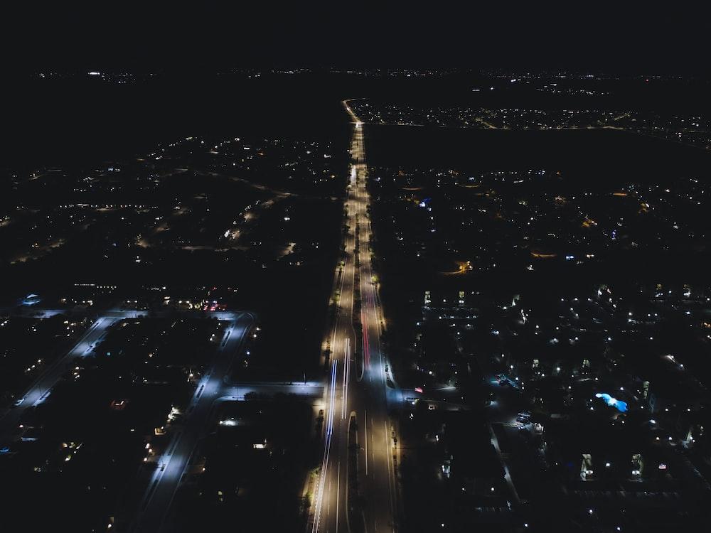aerial photo of streetlihgts