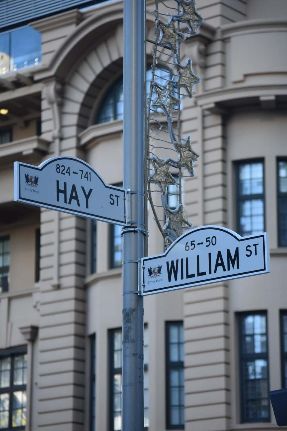 Hay and William road street signage