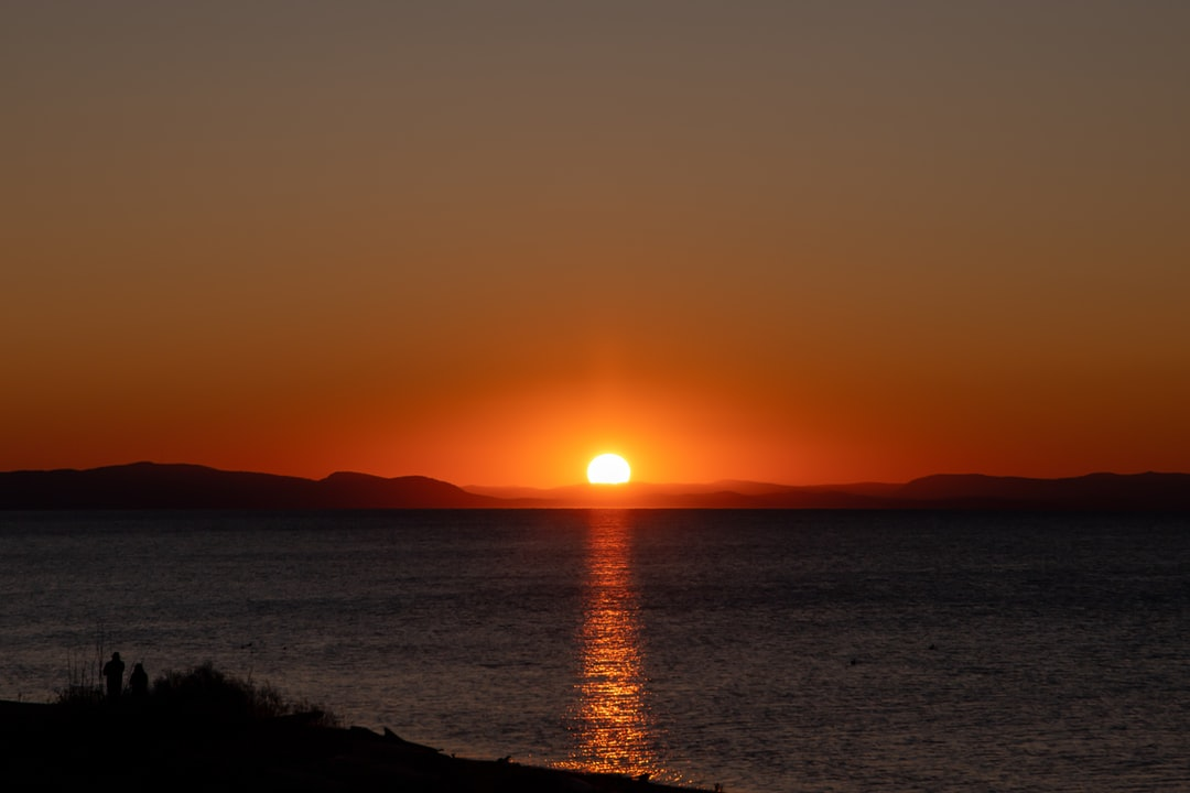 Bloody sunset over the Gulf Islands, taken from the beach at Semiahmoo.