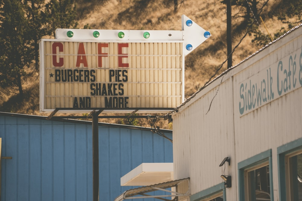 Cafe Burgers Pies Shakes and More signage