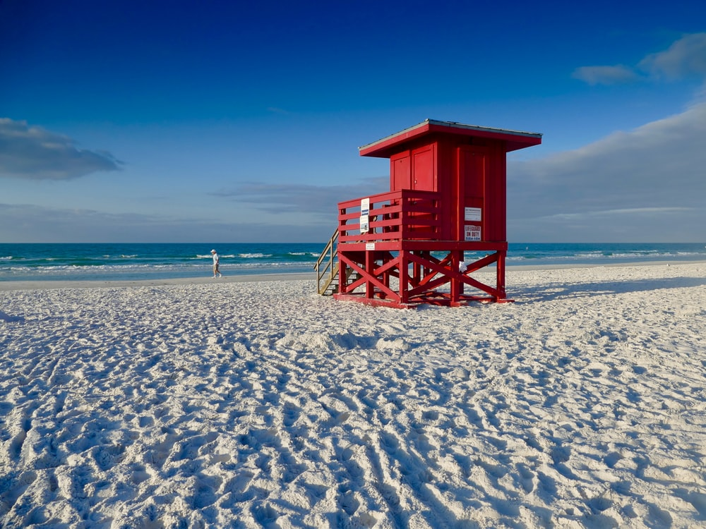 red wooden life saver house