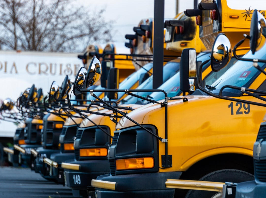 School buses parked.