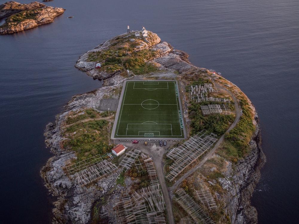 football field on islet