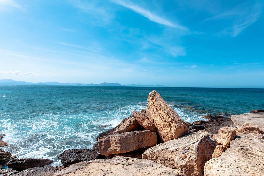 Sea Coast with Big Stone Block in Mallorca by Thomas Vitali