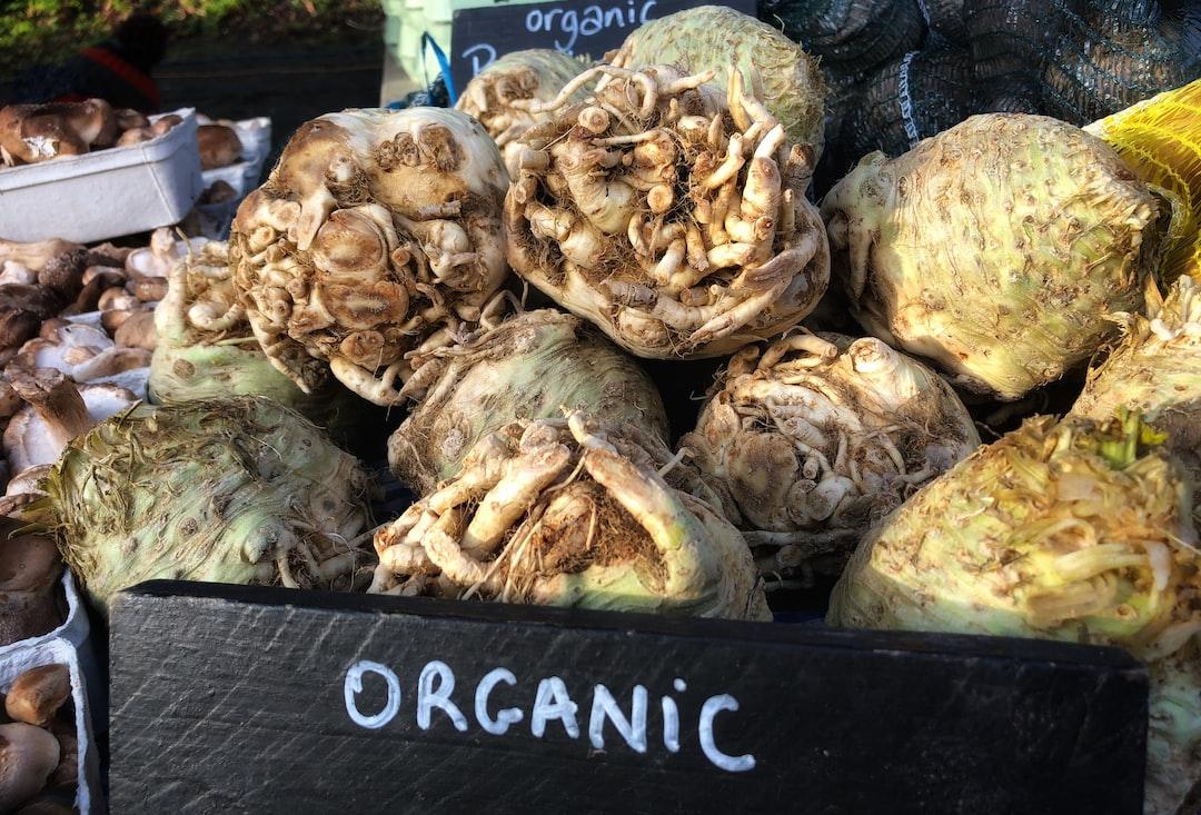 Organic celeriac at a farmers market in London, England.