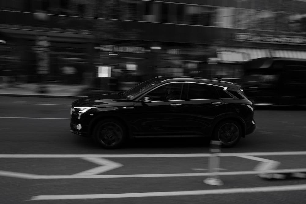 grayscale photo of SUV