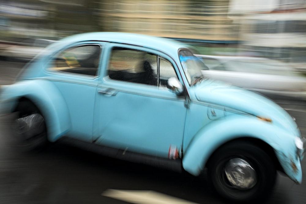 blue Volkswagen bettle