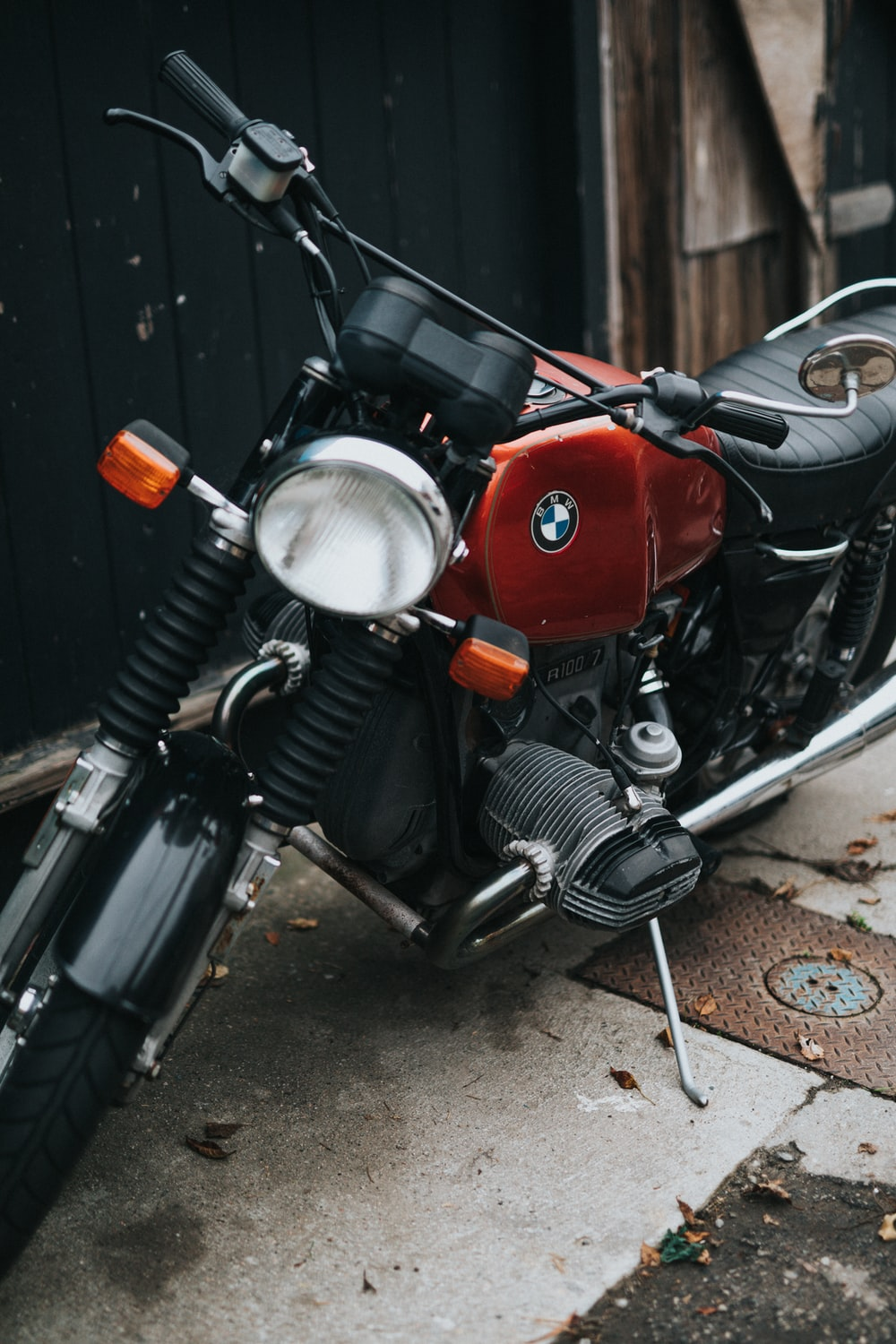 black and red BMW motorcycle