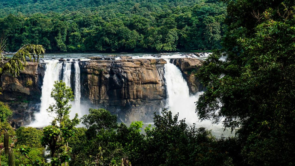 gushing Athirapally waterfalls