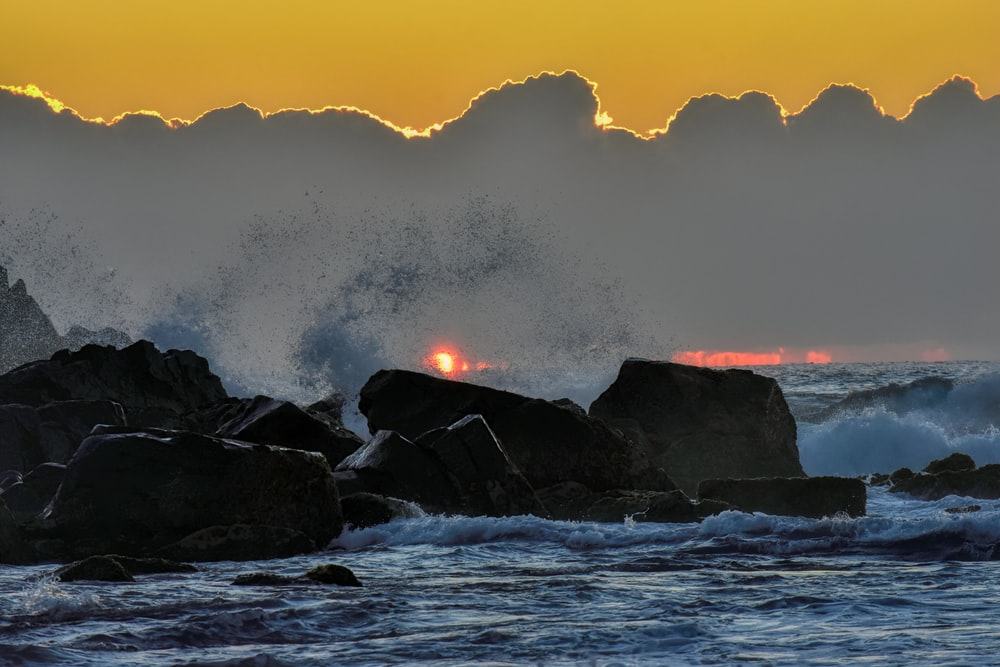 rocky shore during golden hour