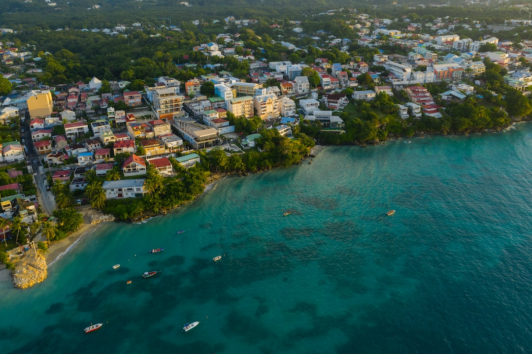 Aerial photo taken by drone of Gosier during sunrise, Guadeloupe, popular summer tourist destination