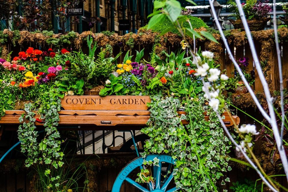 flowers on cart