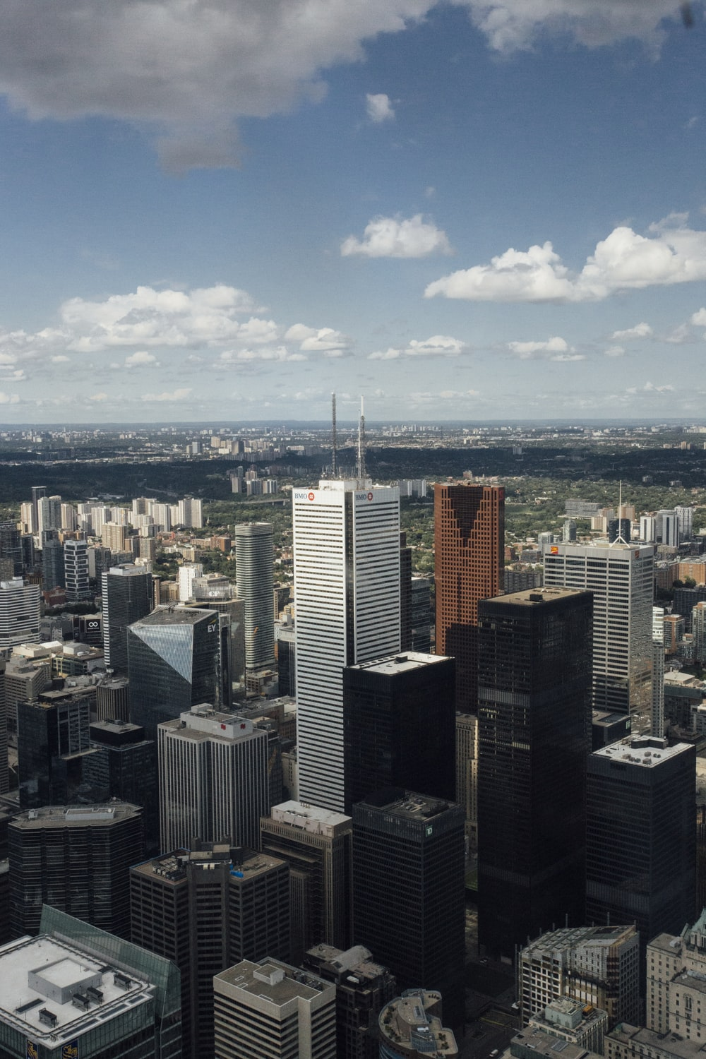 wide-angle photography of high-rise buildings during daytime
