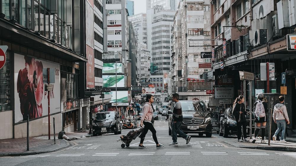woman crossing pedestrian lane