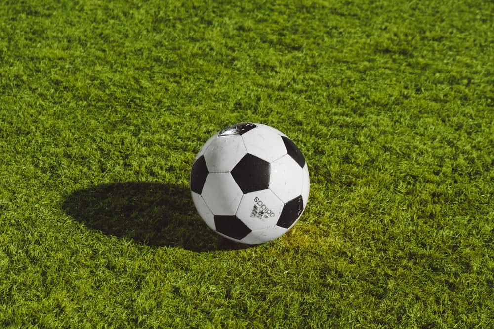 white and black soccer ball on grass field