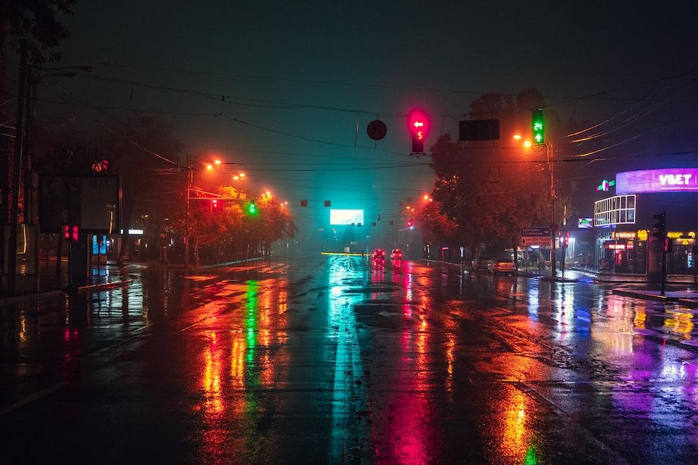 lighted street lights at night