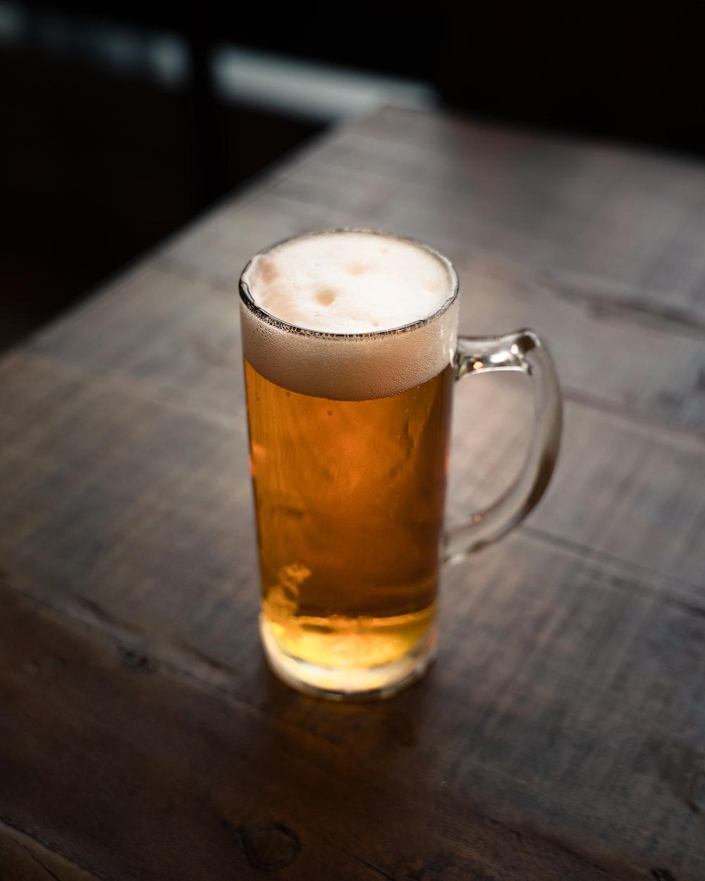 full clear glass beer mug