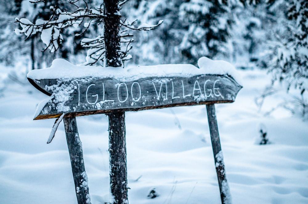 Igloo Village wooden signage