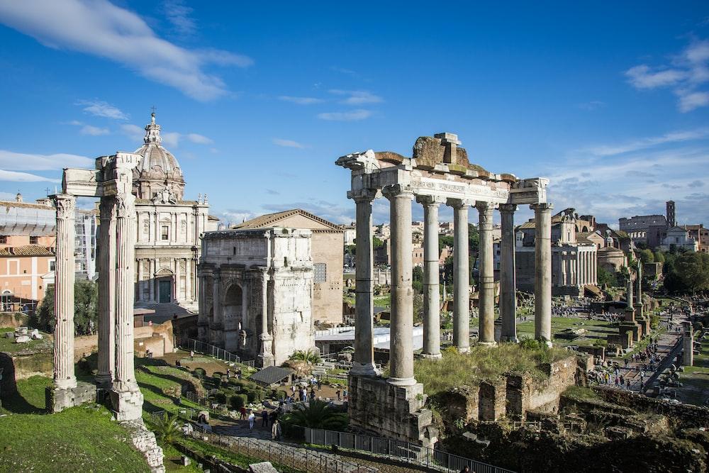 white pillar ruins during daytime