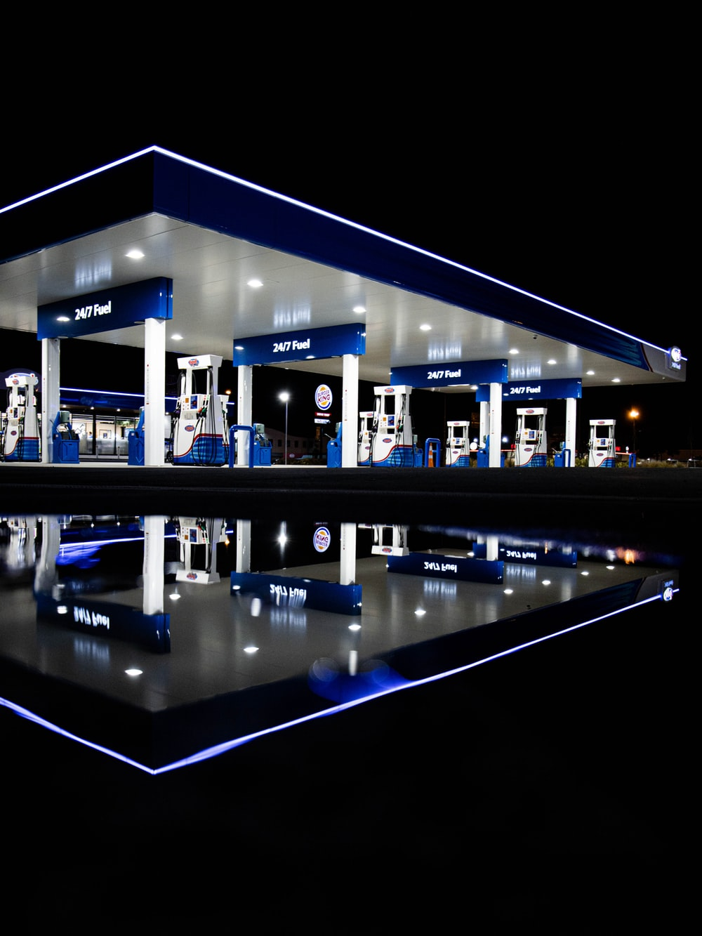blue and white gasoline station