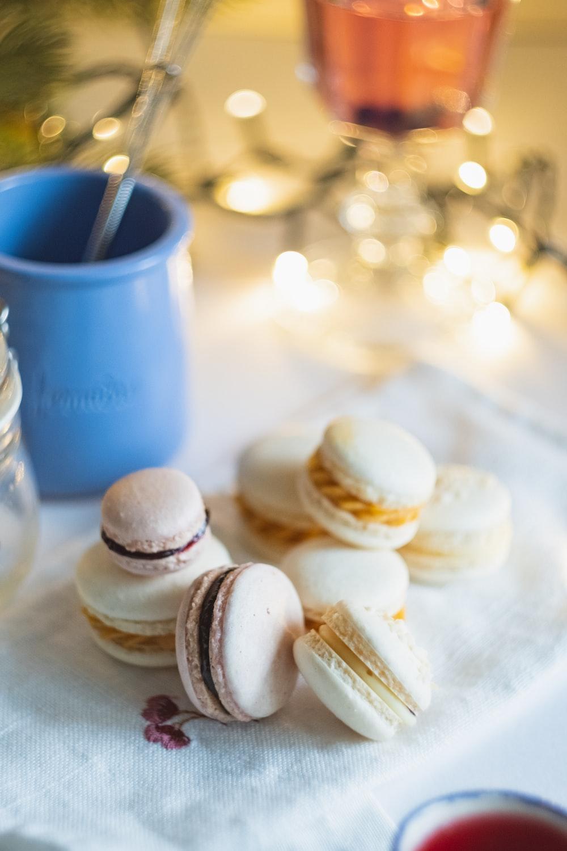 white macarons on white saucer